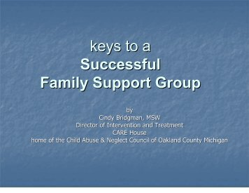 keys to a Successful Family Support Group