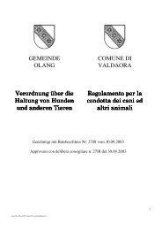 GEMEINDE OLANG COMUNE DI VALDAORA Verordnung über die ...