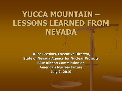 yucca mountain – lessons learned from nevada - Blue Ribbon ...