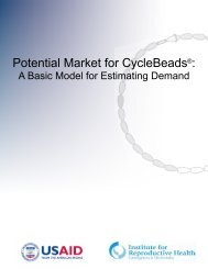 Potential Market for CycleBeads®: - Institute for Reproductive Health