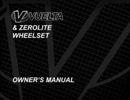 OWNER'S MANUAL & ZEROLITE WHEELSET - Vuelta USA