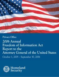 2006 Annual Freedom of Information Act Report to the Attorney ...