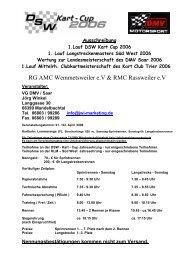 Ausschreibung 1.Lauf DSW Kart Cup 2006 1. Lauf - Motor Sport