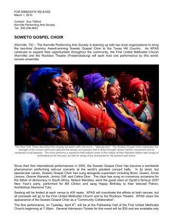 KPAS: Soweto Gospel Choir - Kerrville Performing Arts Society