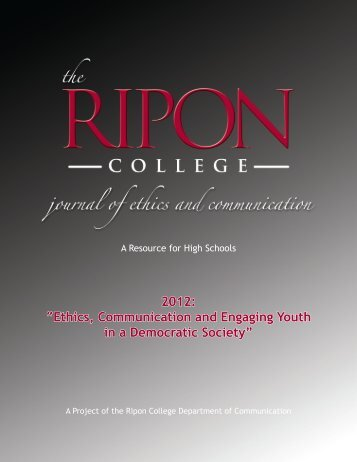"""2012: """"Ethics, Communication and Engaging Youth ... - Ripon College"""