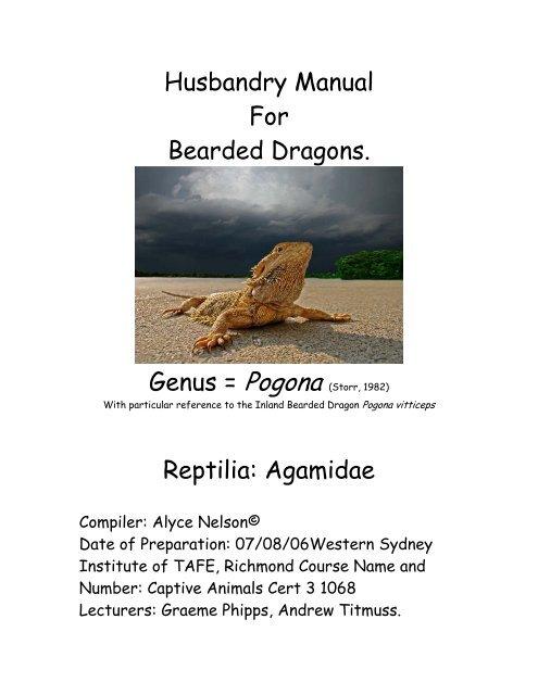 Husbandry Manual For Bearded Dragons Reptilia Nswfmpa Org