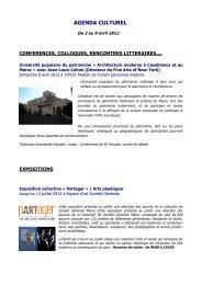 Agenda culturel du 2 au 9 avril 2012 - Lycée Lyautey