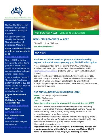 Vol 8, no 21 (25 June) - Nutrition Society of Australia
