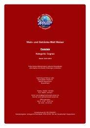 Preisliste für Kategorie: Cognac - und Getränke-Welt Weiser