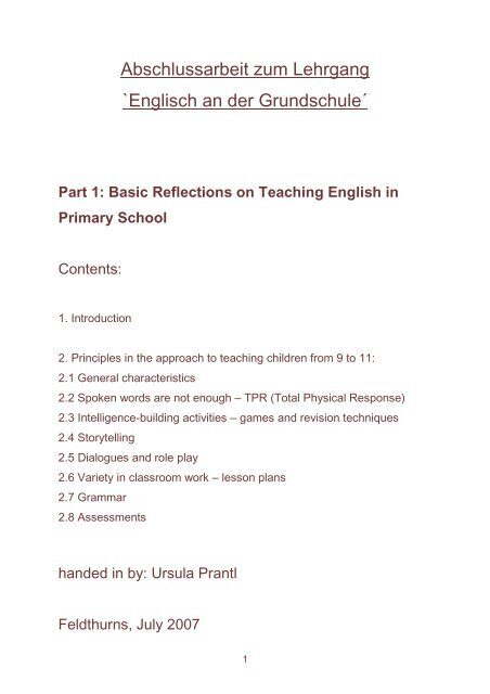 Abschlussarbeit Zum Lehrgang Englisch An Der Grundschule