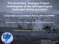 Greenland Analogue Project – Investigation of the hydrogeological ...