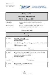 P r o g r a m m Fachtagung Interne Revision 18. bis 19. Oktober 2011