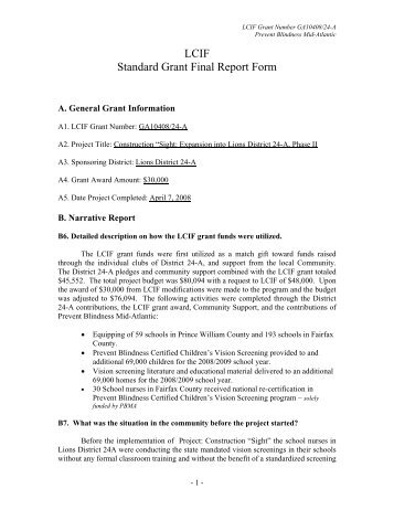 Instructions And Forms For Grant Agreement Final Reports