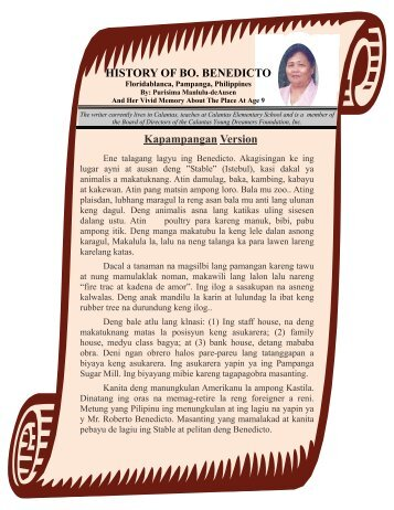 History Of Bo. Benedicto - Calantas Young Dreamers Foundation, Inc.