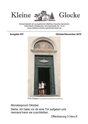 Oktober/November 2010 - Matthias-Claudius-Gemeinde