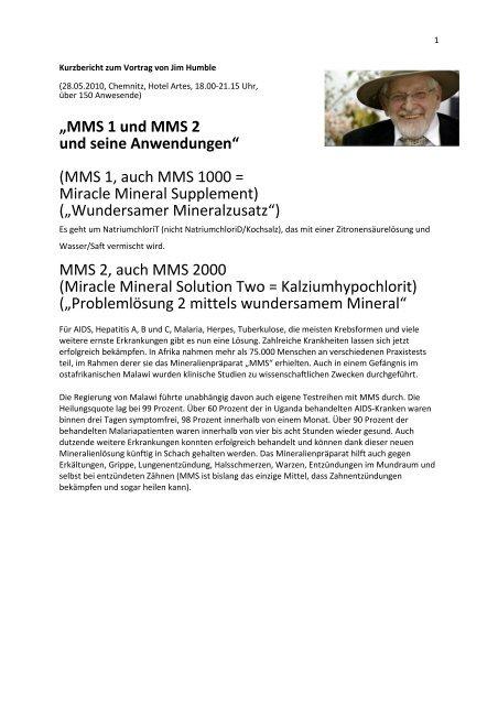 Dosierung erkältung mms bei MMS? MSM?