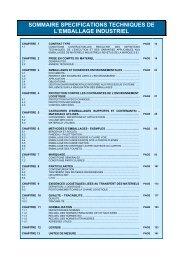 SOMMAIRE SPECIFICATIONS TECHNIQUES DE L'EMBALLAGE ...