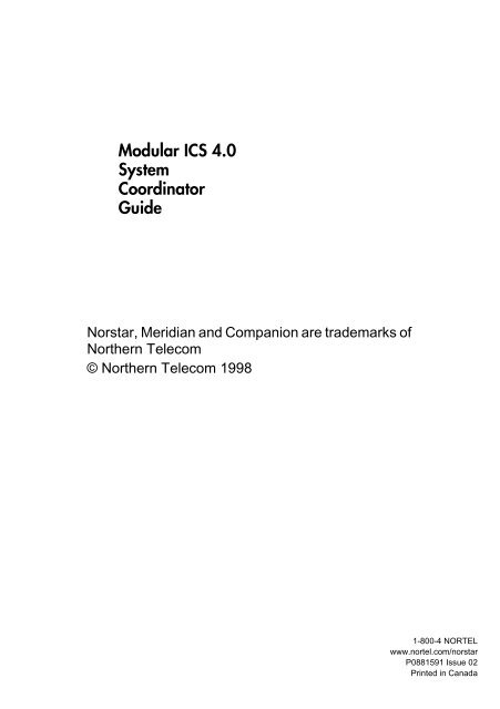 Nortel Norstar Modular ICS 4 0 System Coordinator Guide