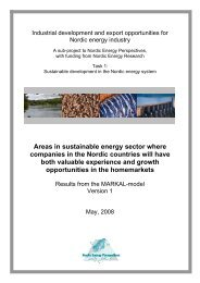 Areas in sustainable energy sector where companies in the Nordic ...