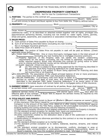 Trec No 20 10 One To Four Family Residential Contract Texas Real