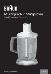 Multiquick / Minipimer - Braun Consumer Service spare parts use ...