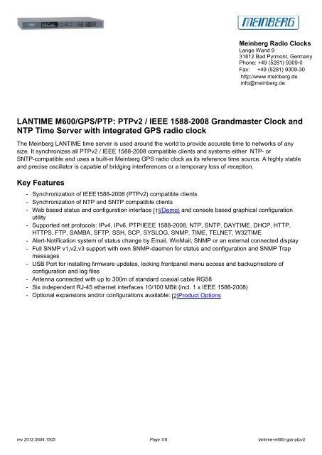 LANTIME M600/GPS/PTP: PTPv2 / IEEE 1588     - TR instruments