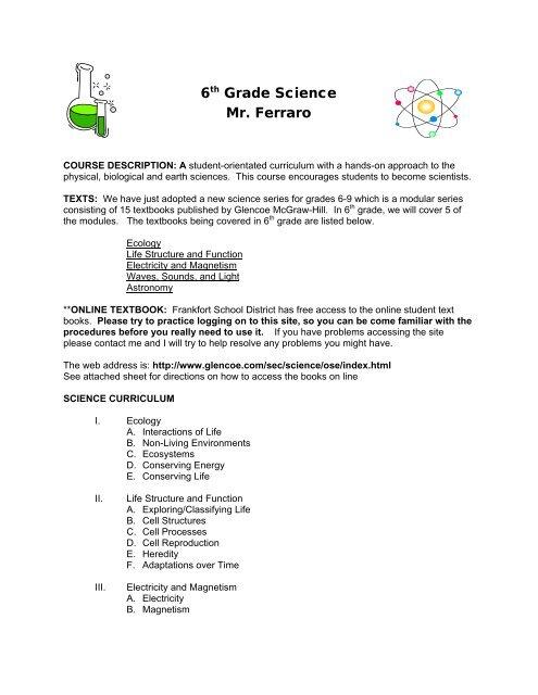 6th Grade Science Mr Ferraro Frankfort School District 157 C