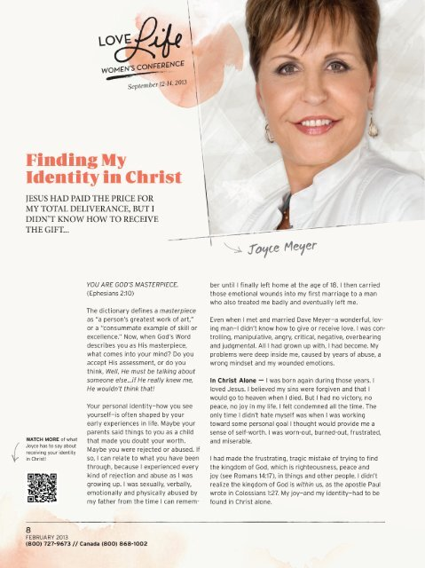 Finding My Identity In Christ Joyce Meyer Ministries