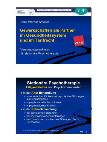 Stationäre Psychotherapie - Verband Psychologischer ...