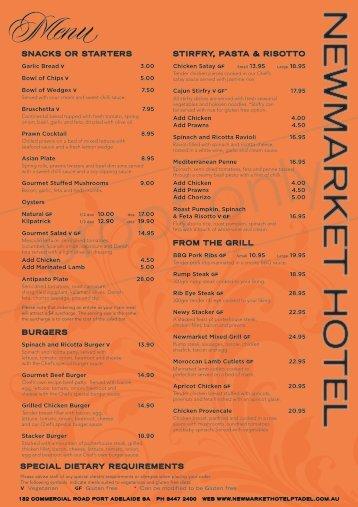 download menu - Newmarket Hotel