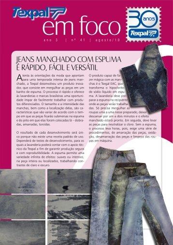 jeans manchado com espuma é rápido, fácil e versátil - Texpal
