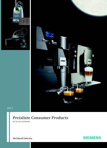 Preisliste Consumer Products - Siemens Hausgeräte