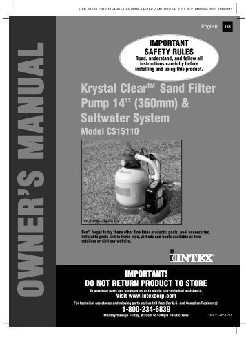 """Krystal ClearTM Sand Filter Pump 14"""" (360mm ... - Home Depot"""