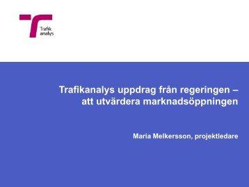 Maria Melkersson, Trafikanalys