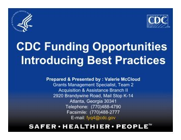 CDC Funding Opportunities Introducing Best Practices