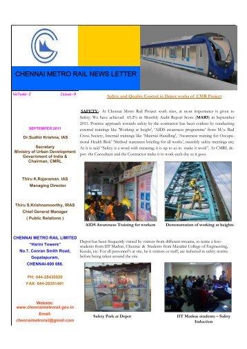 CHENNAI METRO RAIL NEWS LETTER