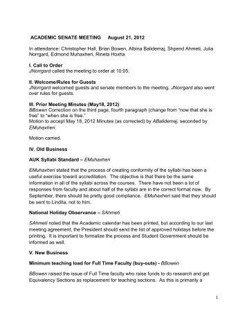 ACADEMIC SENATE MEETING August 21, 2012 In ... - AUK