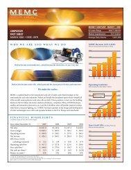 NYSE:WFR - MEMC Electronic Materials, Inc.
