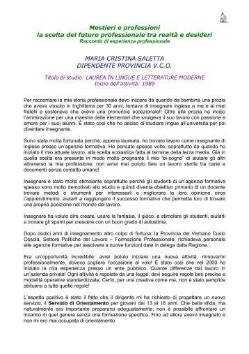 Maria Cristina Saletta - Centro per l'impiego V.C.O.