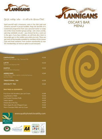 OSCAR'S BAR MENU - Quality Hotel and Leisure Centre
