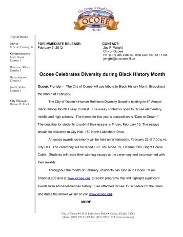 black history month essay awards winners city of ocoee ocoee celebrates diversity during black history month city of ocoee