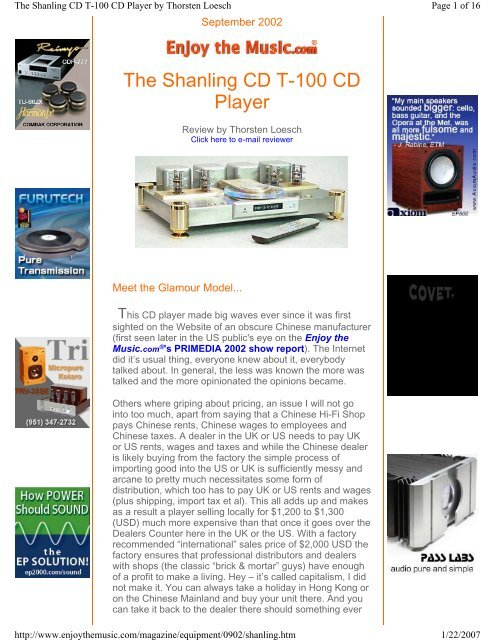 The Shanling CD T-100 CD Player - usa tube audio