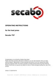 OPERATING INSTRUCTIONS for the heat press Secabo TS7