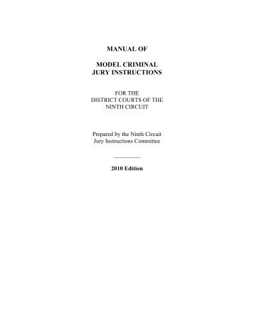 Manual Of Model Criminal Jury Instructions For The Federal