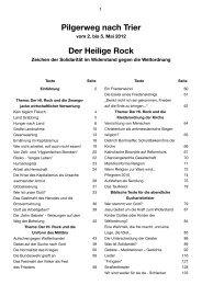 Pilgerweg nach Trier Der Heilige Rock - aktuell