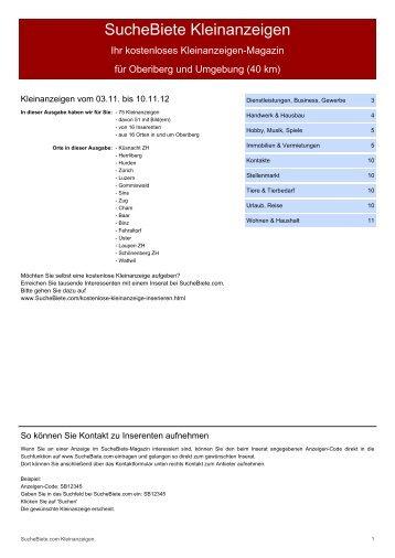 SucheBiete Kleinanzeigenzeitung Oberiberg - Kostenlose ...