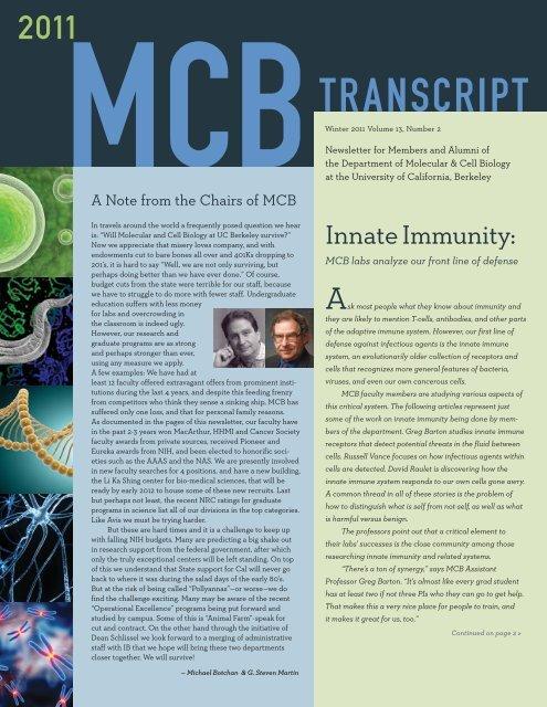 Fall 2010 MCB Transcript - Molecular and Cell Biology - University ...