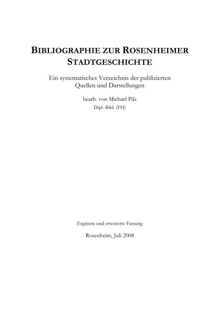 Bibliographie Zur Rosenheimer Stadtgeschichte Stadtarchiv