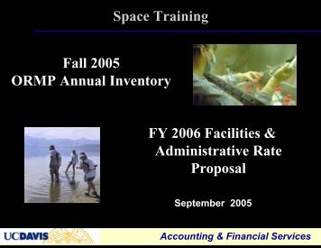 Space Training Sessions, Sept 2005 (PDF) - UCDavis Accounting ...