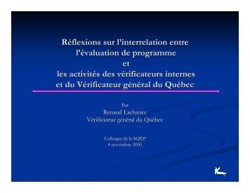 Réflexions sur l'interrelation entre l'évaluation de programme et les ...